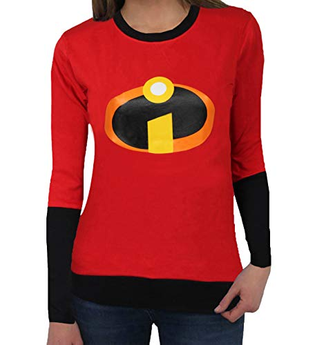 The Incredibles 2 Superheroes T-Shirt - Womens Adult Full Sleeves Logo Red Shirt (L)