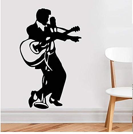 Ljtao Guitarra De Música Rock Decoración Para El Hogar Elvis Presley Decoración De Vinilo Pegatinas De Pared Para El Hogar Tatuajes De Pared Elvis: ...