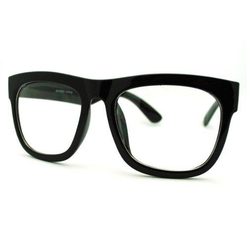 Black Oversized Square Glasses Thick Horn Rim Clear Lens - Mens Frame