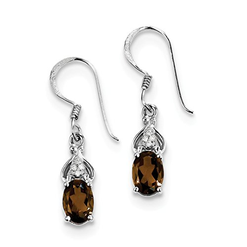 ICE CARATS 925 Sterling Silver Diamond Smoky Quartz Drop Dangle Chandelier Earrings Fine Jewelry Ideal Mothers Day Gifts For Mom Women Gift Set From Heart (Quartz Earrings Chandelier Smoky)