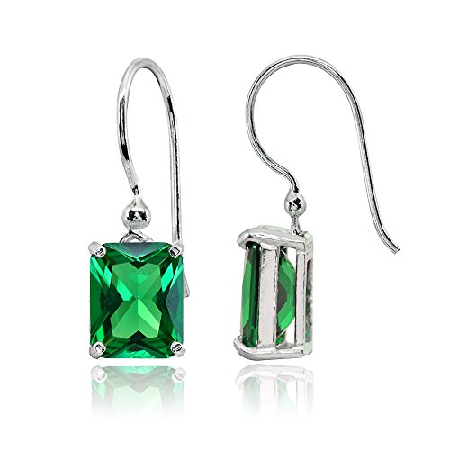 Sterling Silver Simulated Emerald Octagon-Cut Solitaire Drop Dangle Earrings for Women ()