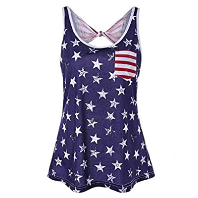RAINED-Womens American Flag Tank Top 4th July Tanks USA Flag Stripe Printed Patriotic USA Flag Tops Shirts Blouse