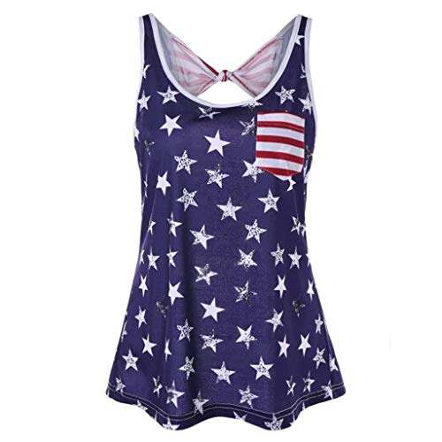 POQOQ Women Plus Size Independence Day Backless Bow-Knot Short Sleeve Summer Vest Tops July 4th Blue