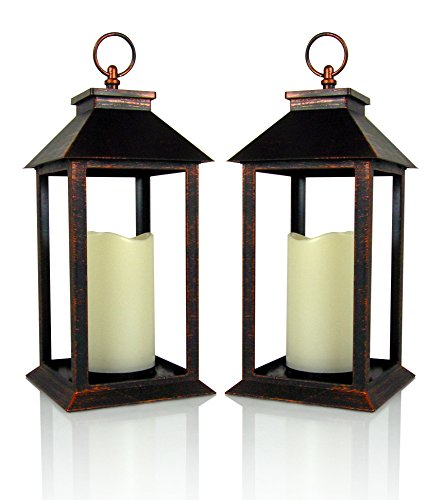 Banberry Designs Decorative Lanterns - Set of 2 Brushed Brass Decorative Lantern with a Flameless LED Pillar Candle and 5 Hour Timer - Outdoor Lighting - 13