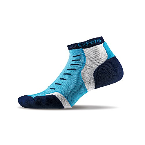Thorlos Unisex-Adults Experia Thin Padded Running Ankle Sock, Navy Vibe, - Runners Best The World In The