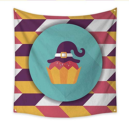 Anniutwo Beach Wall Tapestry Halloween Cupcake with Witch s hat Flat icon with Long Shadow Home Decorations 32W x 32L Inch ()