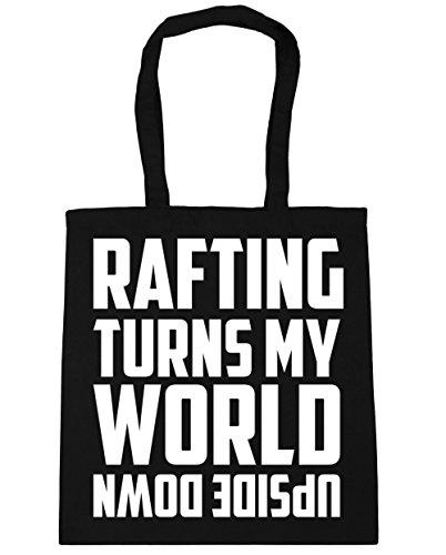 HippoWarehouse Rafting enciende mi mundo al revés Tote Compras Bolsa de playa 42cm x38cm, 10litros negro