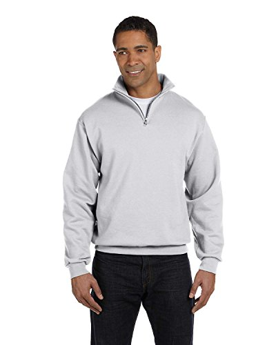 New Jerzees Men's Quarter-Zip Cadet Collar Pullover Sweatshirt, Ash, XL (Zip Quarter Sweatshirt Jerzees)