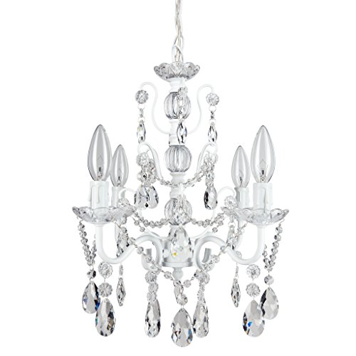 Madeleine White Crystal Chandelier, Mini Swag Plug-In Glass Pendant 4 Light Wrought Iron Ceiling Lighting Fixture (Light Swag Pendant Chandelier)