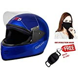 JMD HELMETS Elegant Full Face Helmet with Anti Pollution Mask (BLUE, Large)