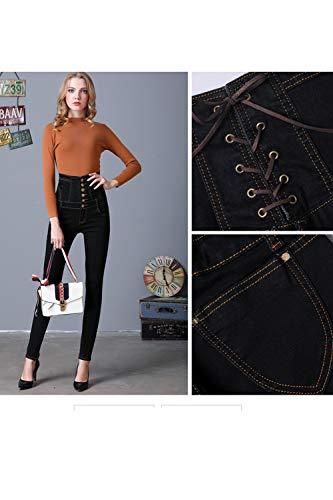 Fit Noir Cadrage Vintage Taille Haute Jean Pantalon Femmes Skinny Slim Denim nyv0N8OmwP