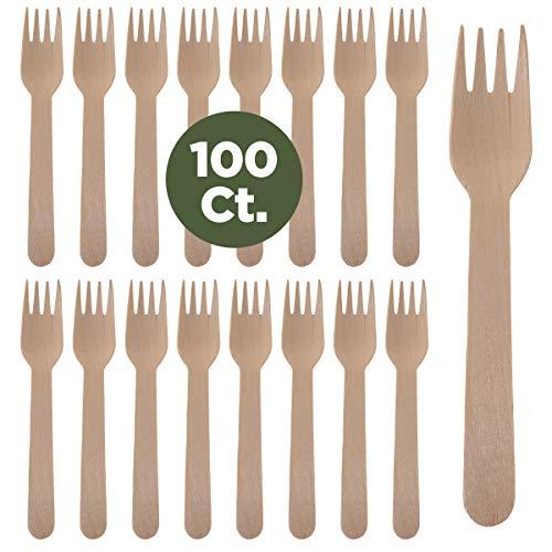 - Prexware Biodegradabel Eco-friendly Go green Birchwood Disposable Wooden Forks set of 100