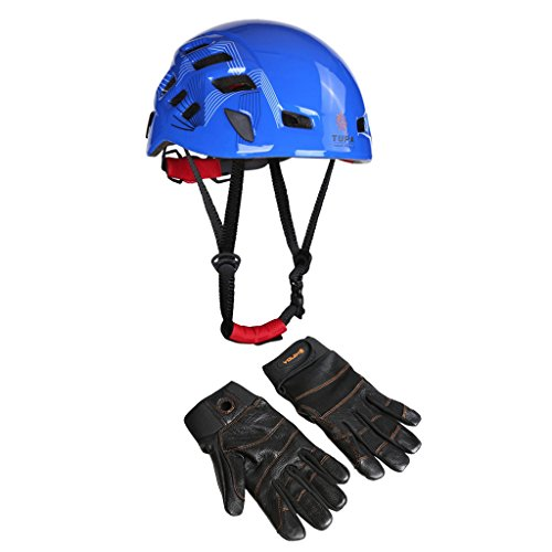 MagiDeal Mountaineering Safety Climbing Helmet 54-62cm + 1 Pair Leather Full Finger Gloves L by MagiDeal