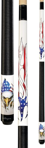 Eagle Cue - Players D-PEG White with Screaming Bald Eagle and American Flag Flames Cue, 19-Ounce