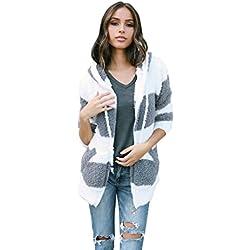 Zipper Hoodies Cardigan Coat Women,Hemlock Ladies Hooded Jacket Sweater Tops Sweatershirt Jumper Pullovers (L, White)