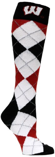 donegal bay Men's University of Wisconsin Argyle Sock, Black/White/Red, One Size
