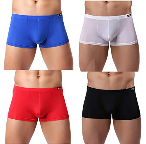 Gudan 4 Pack Mens Silk Underwear Transparent Boxer Briefs Breathable Size Medium