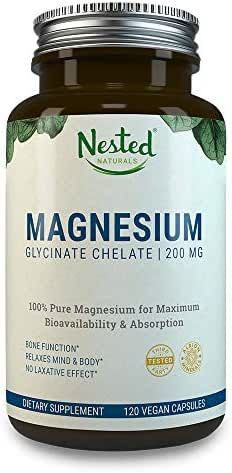 MAGNESIUM GLYCINATE CHELATE 200mg | 120 Non-Laxative, High Absorption Vegan Capsules | Bioavailable Caps For Tension, Muscle Cramps, Stress Relief & Sleep | Non GMO Chelated Bisglycinate Supplement