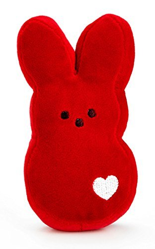 PEEPS Plush Red Bunny with White Heart - -