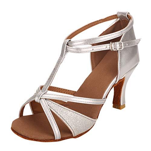 Mid Heels for Women Nude Latin Dance Shoes Practice Wedding Performance Dance Dress Fashion Waltz Ballroom - Flared Heel Inch 2