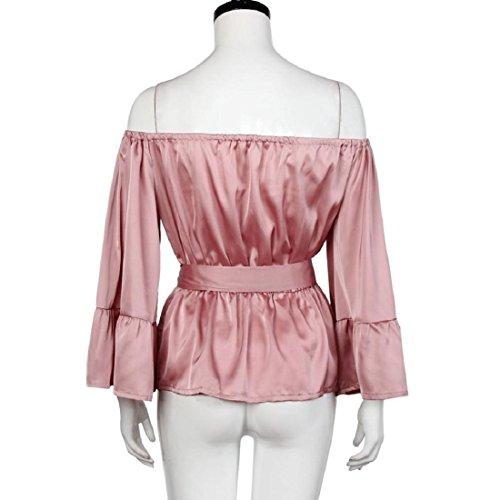 Tongshi Mujeres Tops Hombro plisado arco de la llamarada de la manga de la blusa blusas Rosa