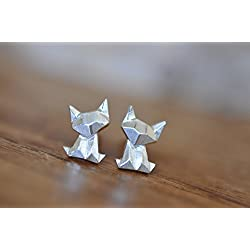 Origami Cat Stud Earrings in Sterling Silver 925