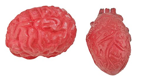 (Bloody Scary Fake Human Brain Horrible Heart Organ For Trick Toys Halloween Props Festival Decoration Haunted)