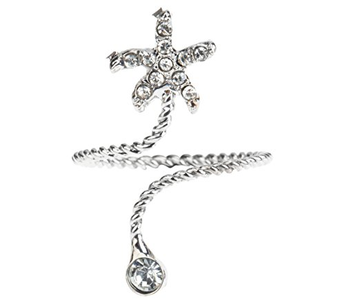 Silver Colored Midi Mid Stacking Knuckles Finger Ring In Twisting Winding Spiral Design With Star and Clear Zirconias Crystals