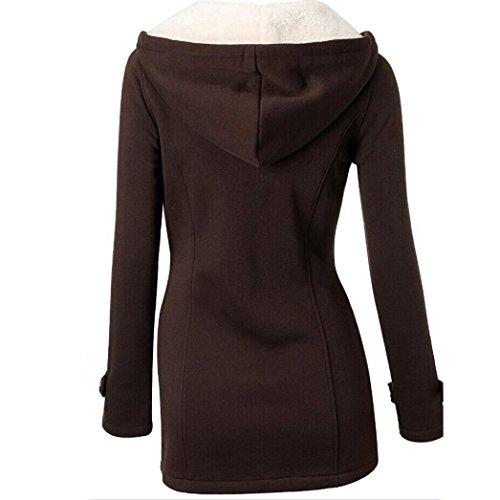 Lunge Ragazza Donna Manica Addensare Cappuccio Forti Elegante Nero Pullover Cappotto Taglie Donna A con Grigio caff Invernale Felpe 7x4BdSn