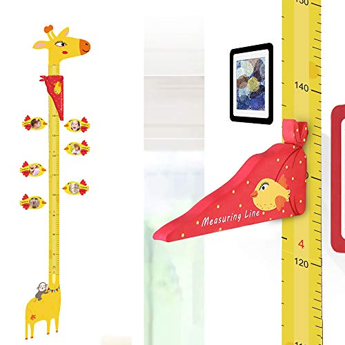 (UCMD Magnetic Kids Height Growth Chart, Giraffe Wall Decal Ruler for Children's Room Wall Stickers- 6 PCS Magnetic Photo Frames, 1 Erase Marker Pen)