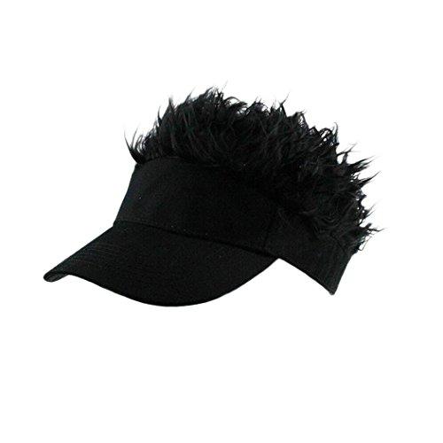 Raylans Novelty Sun Visor Cap Wig Peaked Adjustable Baseball Hat with Spiked Hair (Black)
