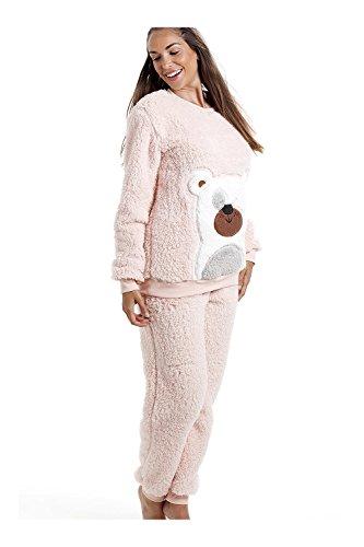 d87f124c75 Camille - Pyjama-Set mit Teddybär-Motiv - weich & kuschelig - Zartrosa  46/48: Amazon.de: Bekleidung