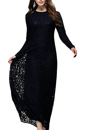 Women Floral s Black Long Lace Jaycargogo Maxi Formal Dress Sleeves Long Evening Dress 1Zqdxq5w