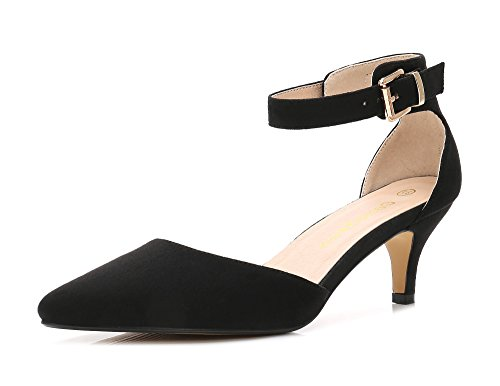 ComeShun Womens Shoes Low Pointed Ankle Strap Dress Pumps DOrsay Kitten Heels