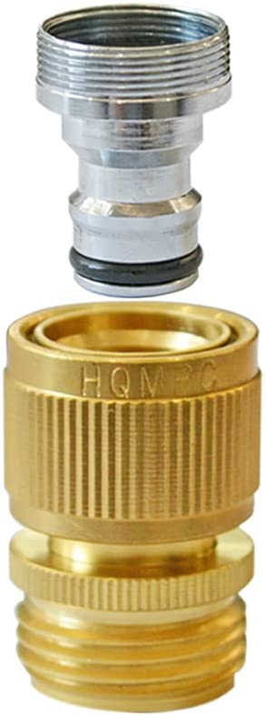 HQMPC Faucet to Hose Adapter Kitchen Snap Coupling Adapter Washing Machine Quick Connect Dishwasher Snap Coupling Adapter,Chrome Nipple Male 15/16-27 or Female 55/64-27 to Male 3/4