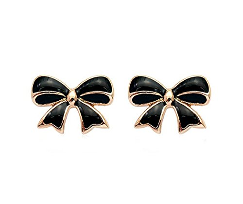 Simple Gold Tone Bow Tie Ribbon Stud Earrings Fashion Jewelry for Women (Black) (White Ribbon Earrings Gold)
