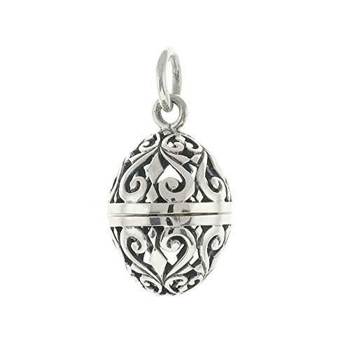 Sterling Silver Filigree Aromatherapy Egg Locket Pendant (Silver Prayer Box Sterling Necklace)