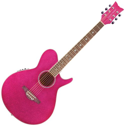 (Daisy Rock WildWood Artist Deluxe Acoustic-Electric Atomic Pink Guitar)