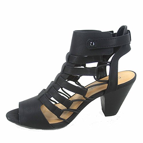 Women's Wedge Shoes Gladiator Low Black Strappy Delicious s Fashion Toe Sandal Awesome Open Heel qqSCR