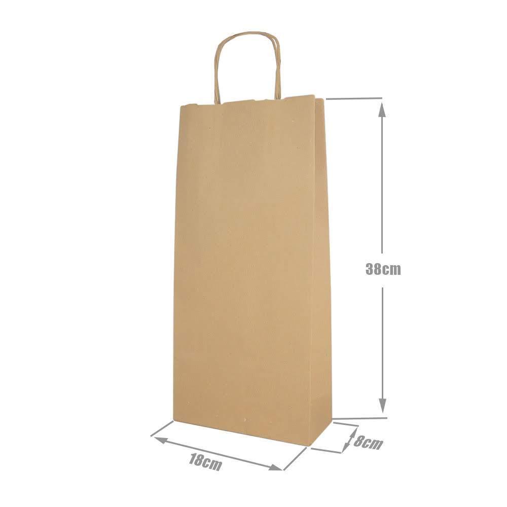 RUBY - Bolsas papel kraft marron con asa rizada, ideal para bodas, cumpleaños, navidad o fiestas, base plana (Talla S, 24 pcs)