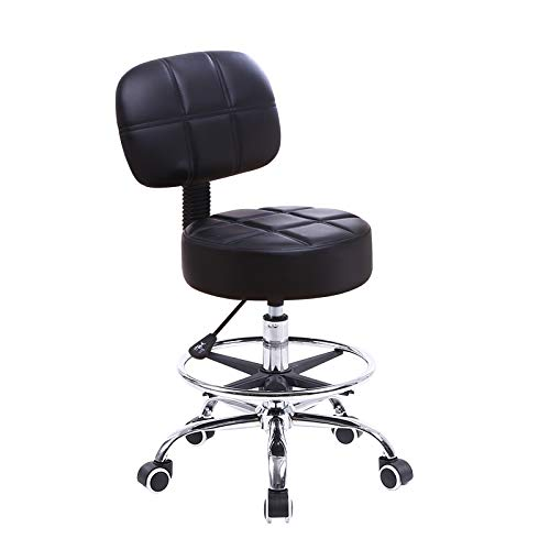 Round Back Swivel Stool - KKTONER Swivel Round Rolling Stool PU Leather with Adjustable Foot Rest, Height Adjustable Task Work Drafting Chair with Back Black