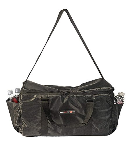 Insulated Food Delivery Bag - Commercial Quality Thermal Food Transport Bag - 22'' x 14'' x 11'' - Extra Strong Zipper With Thick Insulation Carrier - Large Black by DeliveryPizzaBags (Image #1)