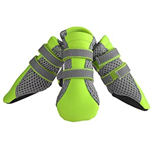 Petacc Puppy Dog Boots Daily Soft Sole Nonslip Mesh Dog Shoes with 2 Long and Safe Reflective Velcro Straps in Size XL