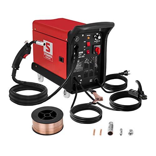 Stamos Welding Set De Soldadora Multiproceso S-MIGMA-195 MIG MAG Set 1 (MIG/MAG/MMA/FCAW, Careta y guantes de soldar, 1 kg de alambre y piezas de recambio): ...