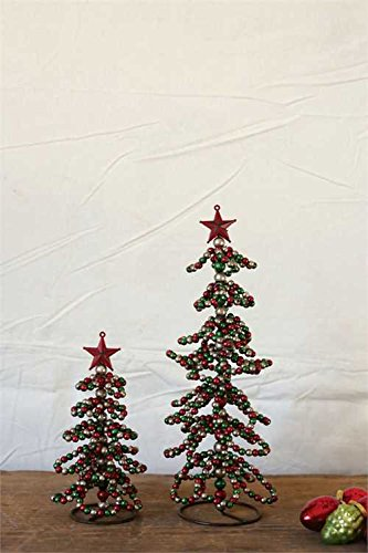 Red, Green, & Silver Beads Metal Christmas Tree - Set Of 3