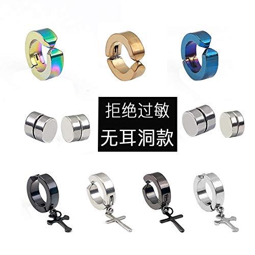 VVSBAOZI Crystal Pendientes Clip de oreja de acero de ...