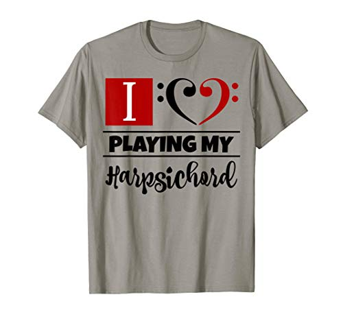 Double Bass Clef Heart I Love Playing My Harpsichord Musical T-Shirt