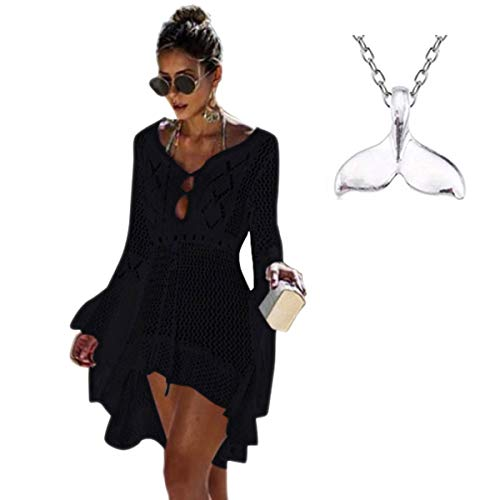 (COME2LOOK Womens Crochet Sexy Swimsuit Cover Up Bikini Bathing Suit Beach Dress(One Size) Style7-Black)