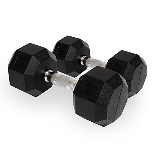 Kobo Imported Home Gym Exercise Cardio Aerobic Training Fitness Grippy HEX Rubber Dumbbell  Pair