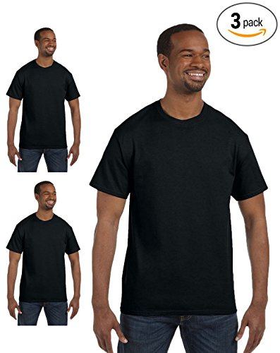 (Gildan Men's Short-Sleeve Heavy Cotton T-Shirt, Black, Large. (Pack3))